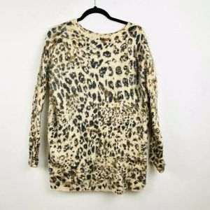 Foreign Exchange Cheetah Print Fuzzy Long Sweater